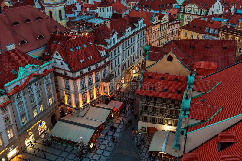 Red roofs, houses and street in Old Town of Prague. stock photography