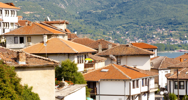 Download Red roofs - Ohrid town. stock photo. Image of blue, chimney - 22880048