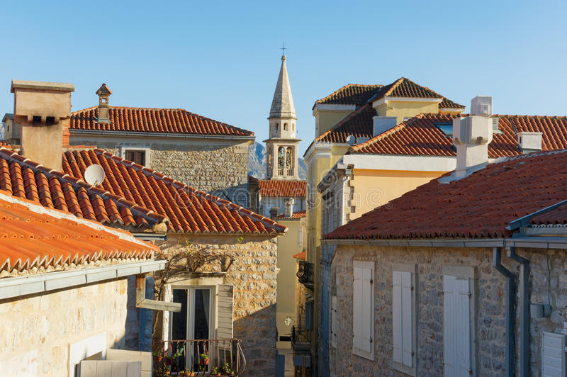 Red roofs of Old Town of Budva. Montenegro stock images