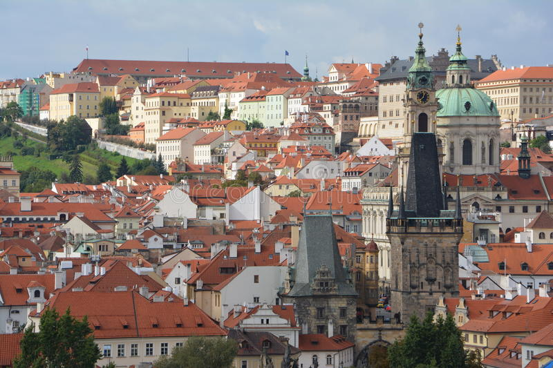 Red roofs of Prague capital of Czech Republic stock photos