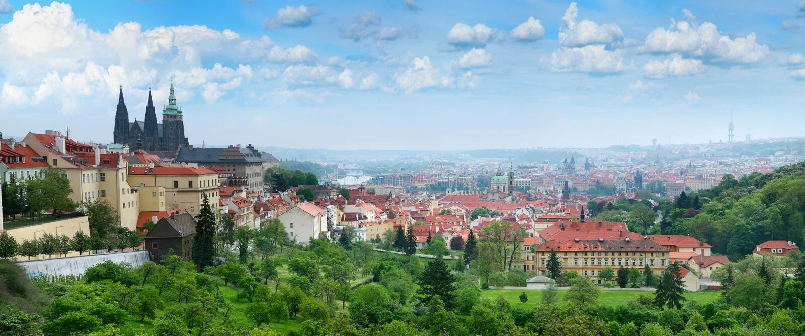 Red roofs of Prague's Old Town. stock images
