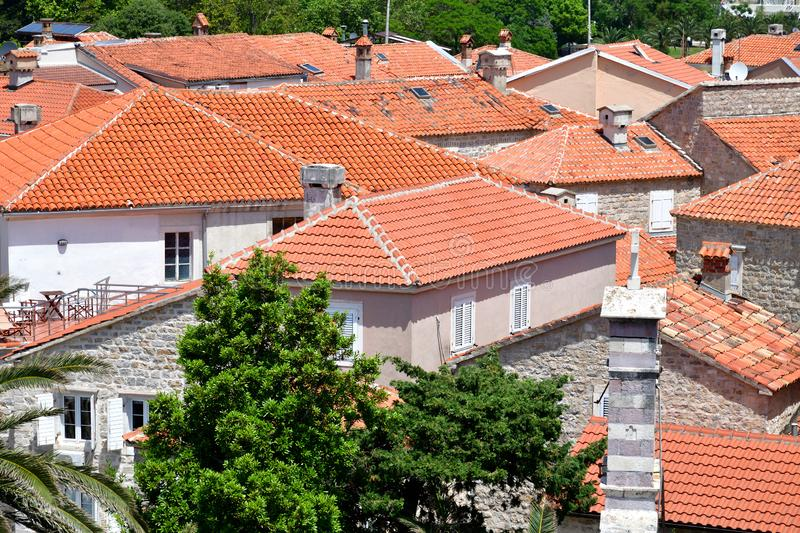 Red roofs of tiles in the old town Budva, Montenegro royalty free stock photos