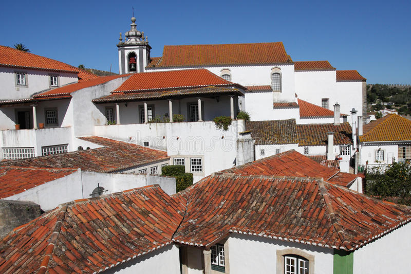 Red Rooftops Of Obidos Stock Image