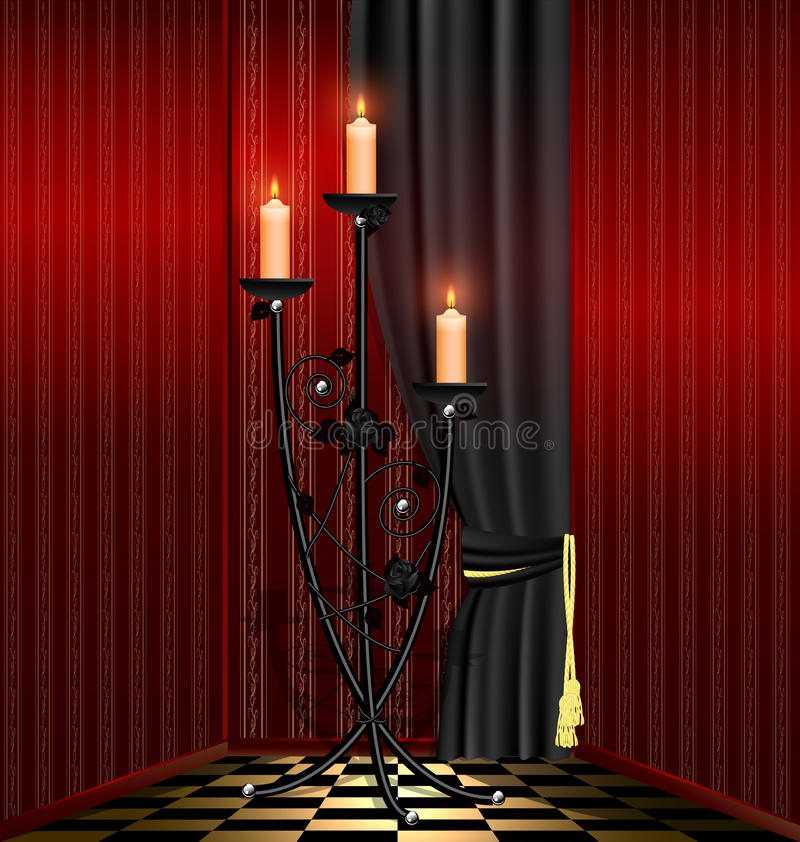 Download Red Room And Black Chandelier Stock Vector - Image: 23223512