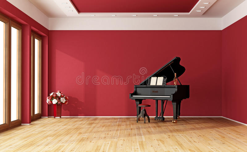 Red room with grand piano royalty free illustration