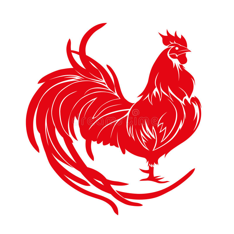 Red rooster. Happy Chinese new year 2017. Vector royalty free stock photos