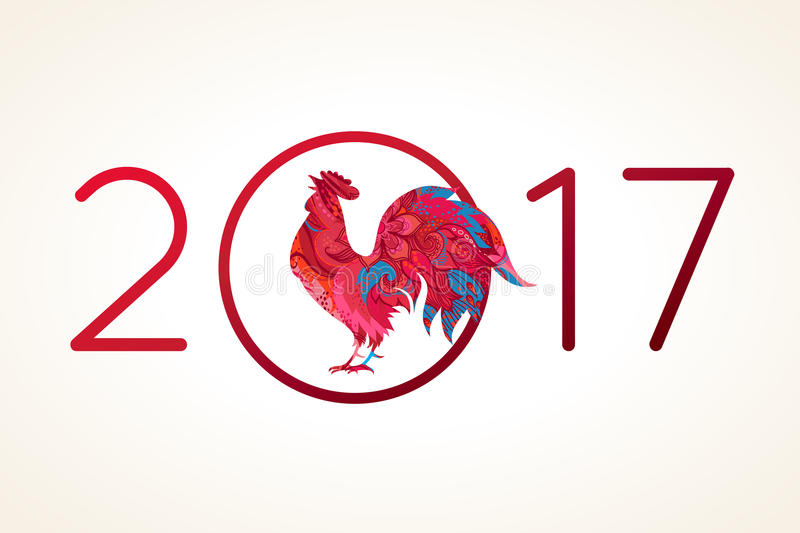 Red Rooster symbol of 2017. vector illustration