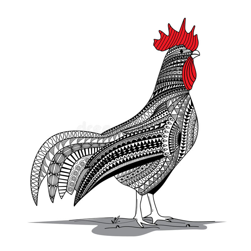 Red rooster zentagle royalty free illustration