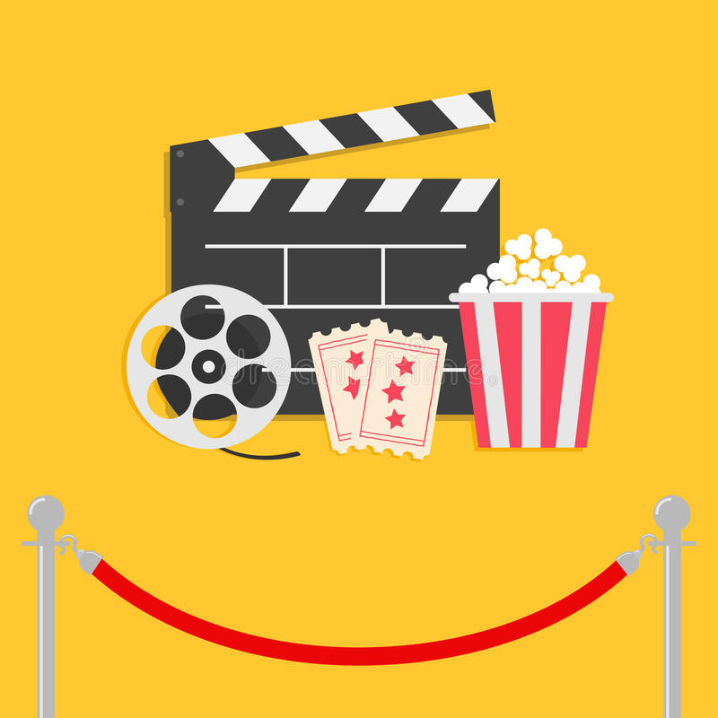 Red rope barrier stanchions turnstile facecontrol Movie reel. Open clapper board Popcorn box Ticket Admit one. Three star. Cinema icon set. Flat design style vector illustration