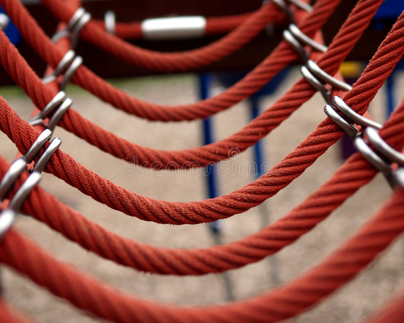 Red Rope Bridge royalty free stock image
