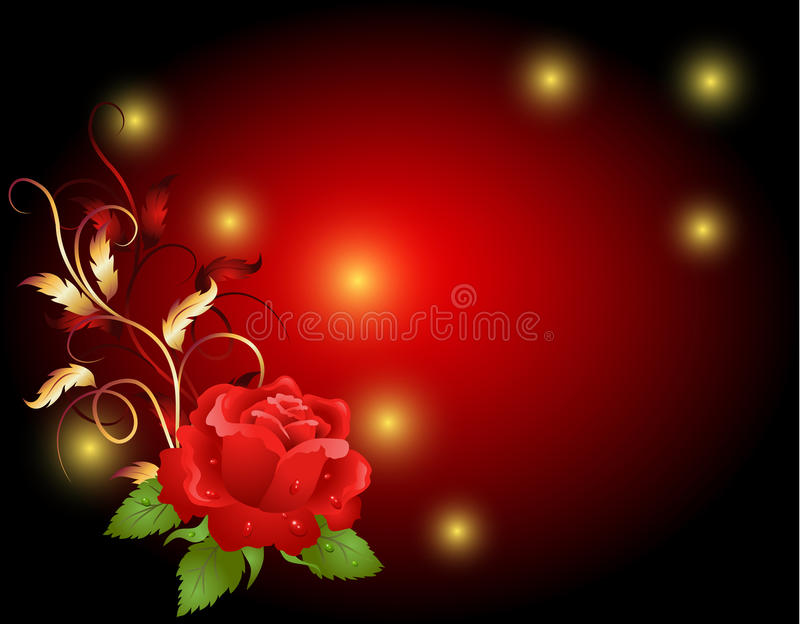 Red rose. With golden frame ornament royalty free illustration