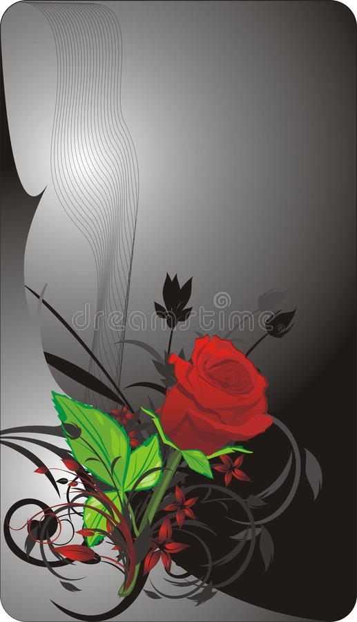 Free Red Rose And Decorative Twigs. Card Stock Photos - 9124293