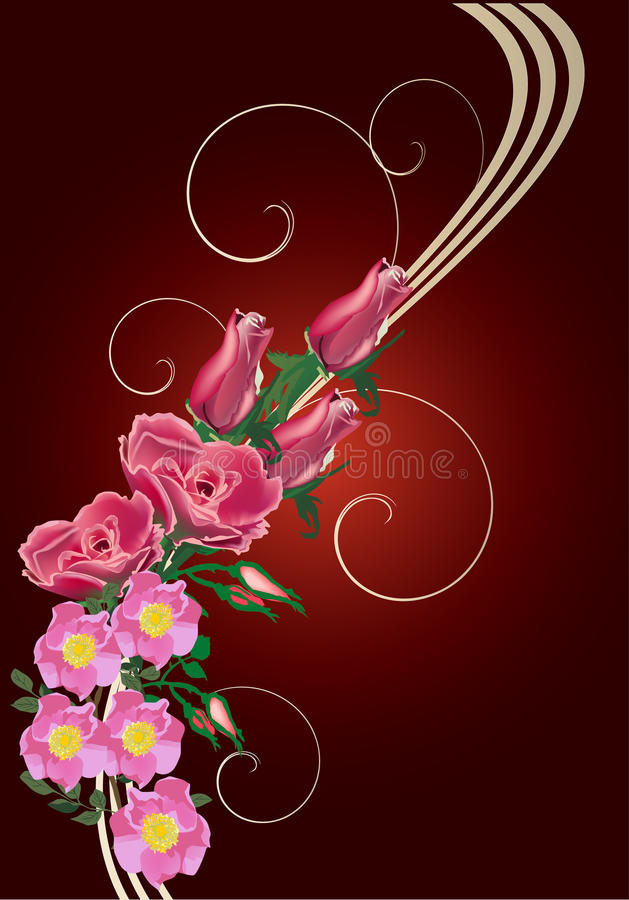 Red Rose And Brier Flower Wave Stock Image