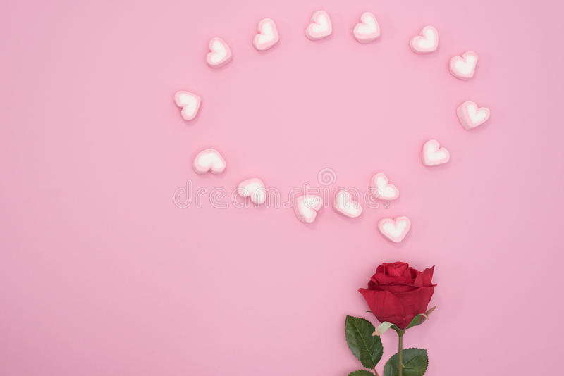 Red rose with bubble speech hearts on pink paper background stock image