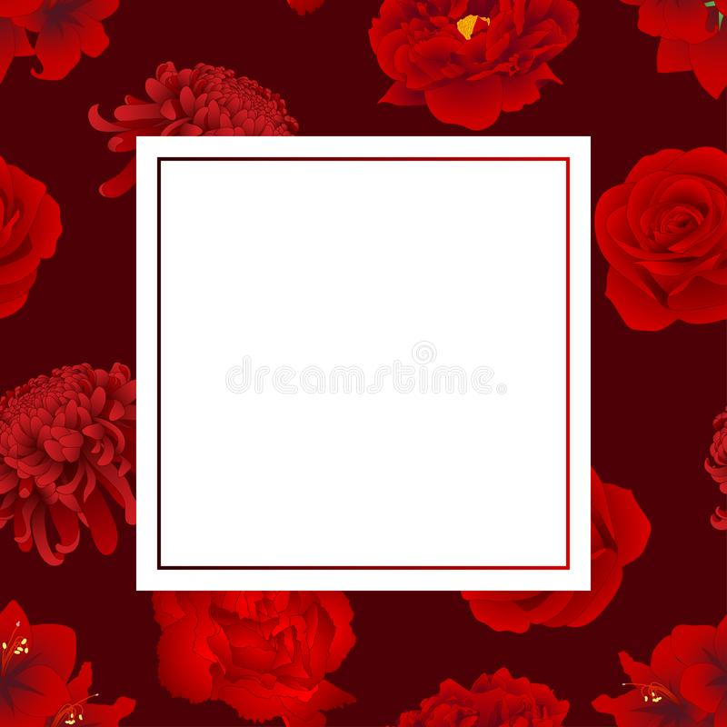 Red Rose, Chrysanthemum, Carnation, Peony and Amaryllis Flower Banner Card. Vector Illustration vector illustration
