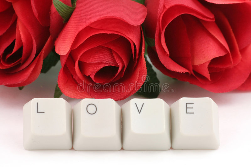 Download Red rose and computer keys stock image. Image of computer - 1783025
