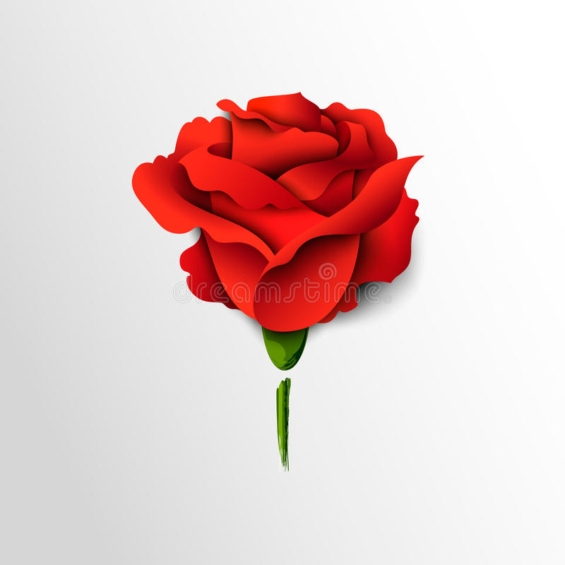 Red rose cut out of paper stock illustration