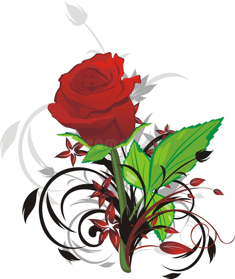 Download Red Rose And Decorative Twigs Stock Vector - Illustration of floral, element: 9124234