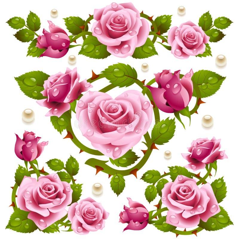 Red Rose design elements royalty free illustration