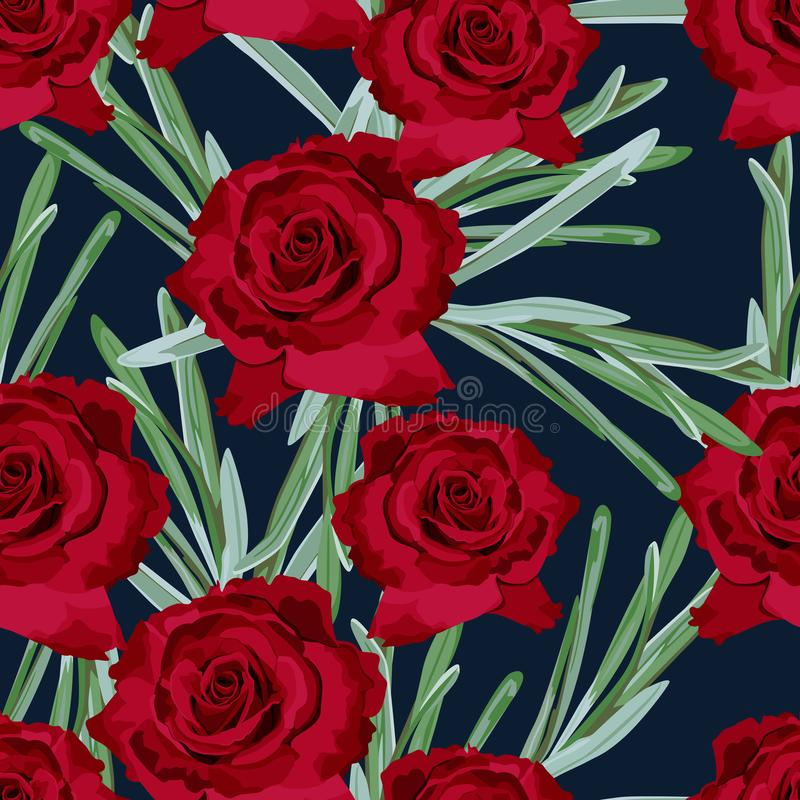 Red rose floral seamless pattern texture. Dark flowers with green leaves foliage on dark navy blue background. Botanical vector illustration stock illustration