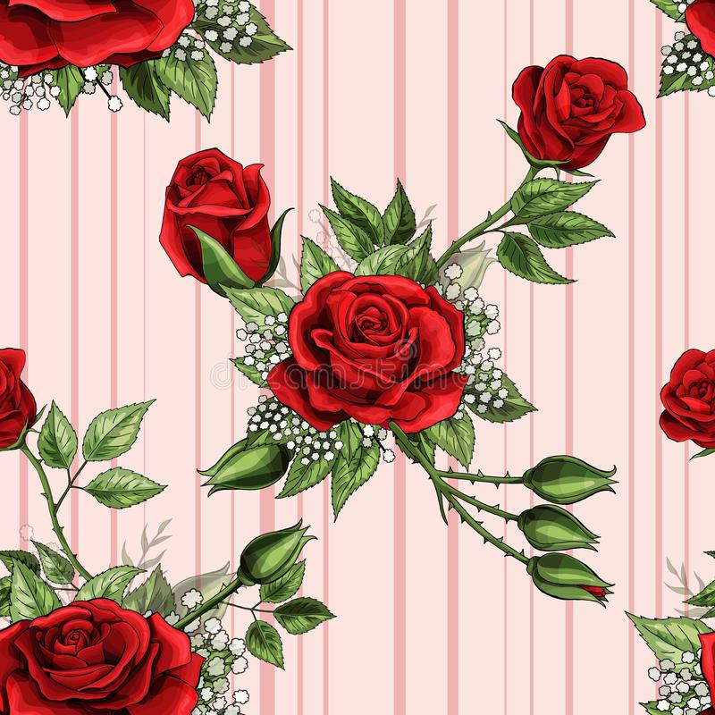 Red rose flower bouquet spreads creeper elements seamless pattern wallpaper stock illustration