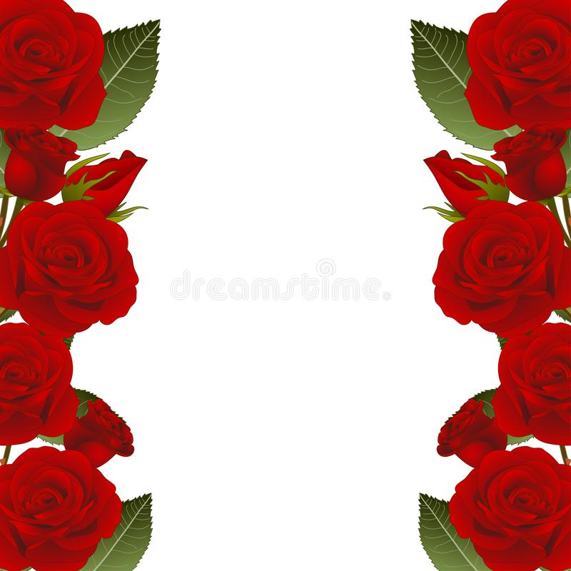 Red Rose Flower Frame Border. isolated on White Background. Vector Illustration.  stock illustration