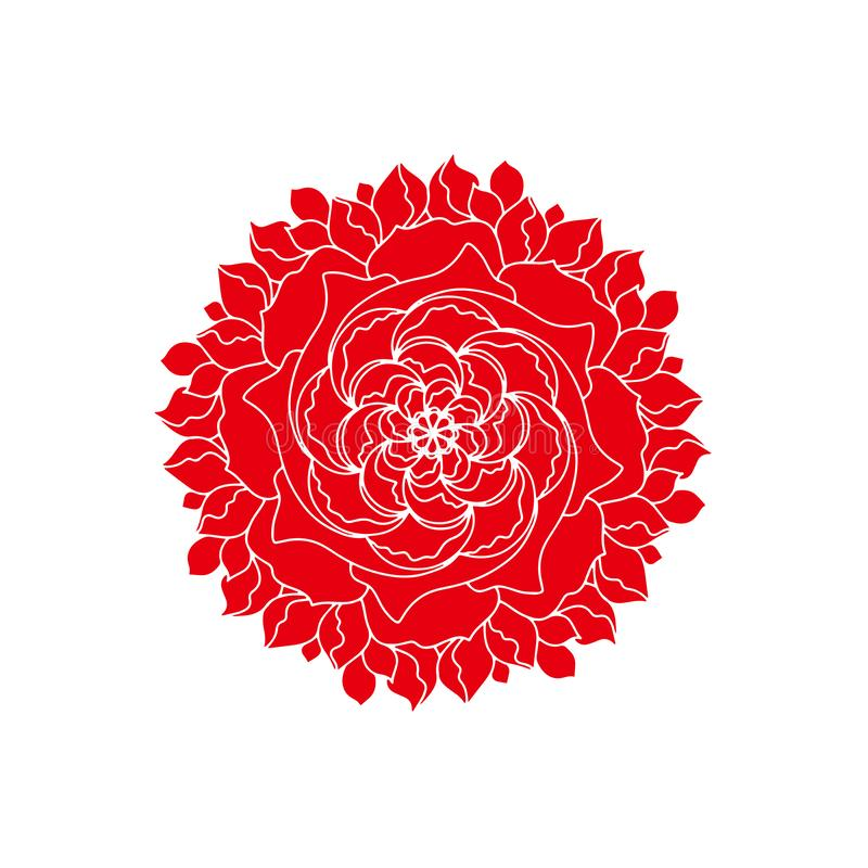 Red rose Flower vector concept logo organic plant. Retro spring or summer floral design element in mandala style. Abstract art stock illustration