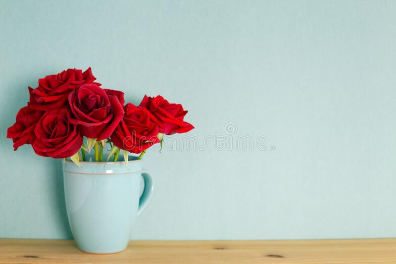 Red rose flowers in ceramic cup on wooden table with mint green background. Spring floral arrangement, copy space stock image