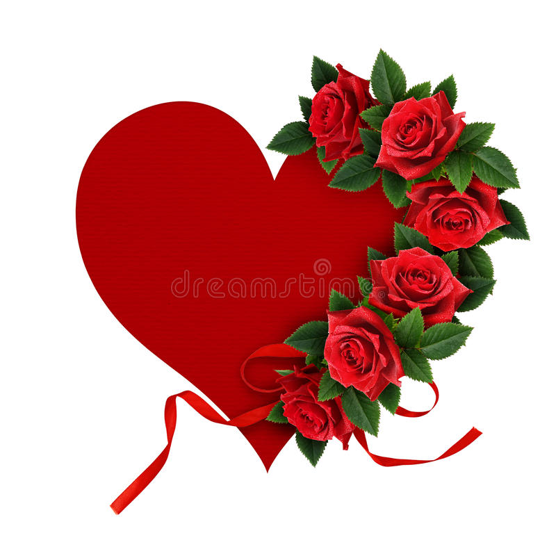 Red rose flowers heart shape arrangement royalty free stock photo