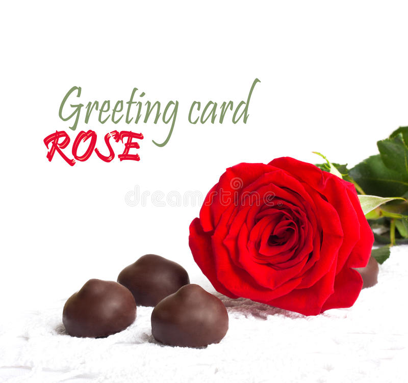 Red rose with green leaves and chocolate stock photos