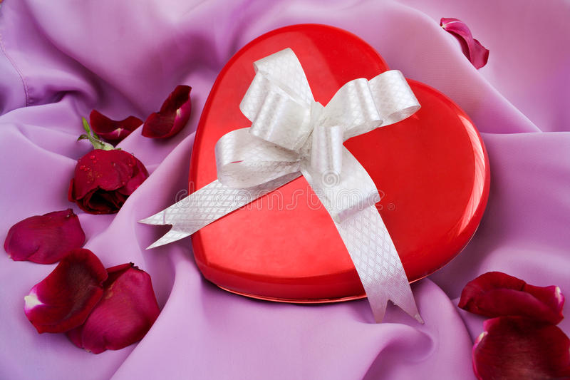 Download Red Rose And Heart-shaped Gift Box With Ribbon Stock Image - Image of objects, pink: 11725483