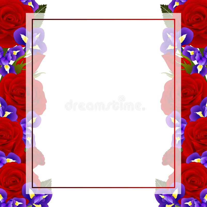 Red Rose and Iris Flower Frame Banner Card Border. isolated on White Background. Vector Illustration.  vector illustration