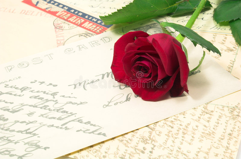 Red rose and letters 2 stock images