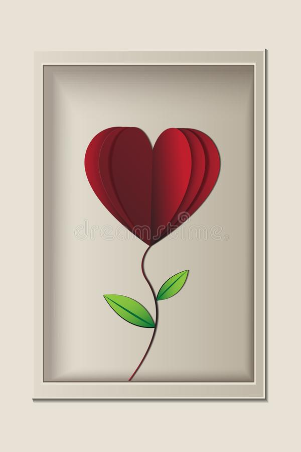 Red rose look like heart shape in the frame, papercut vector vector illustration