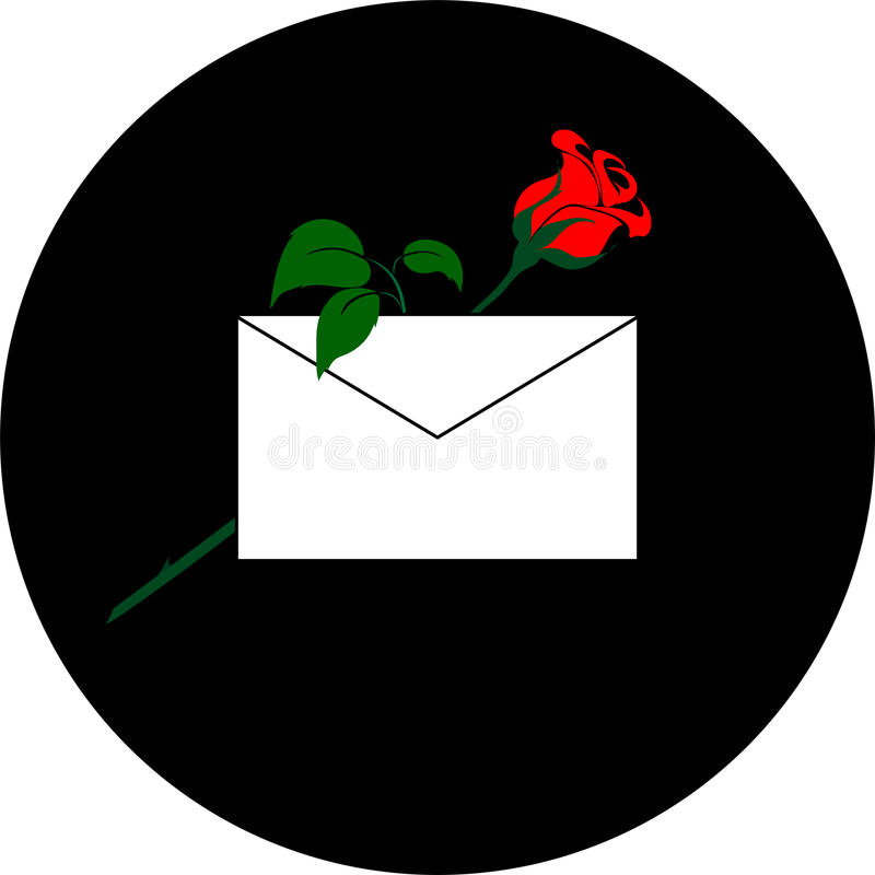 Red rose with mail envelope on a black background. stock photo