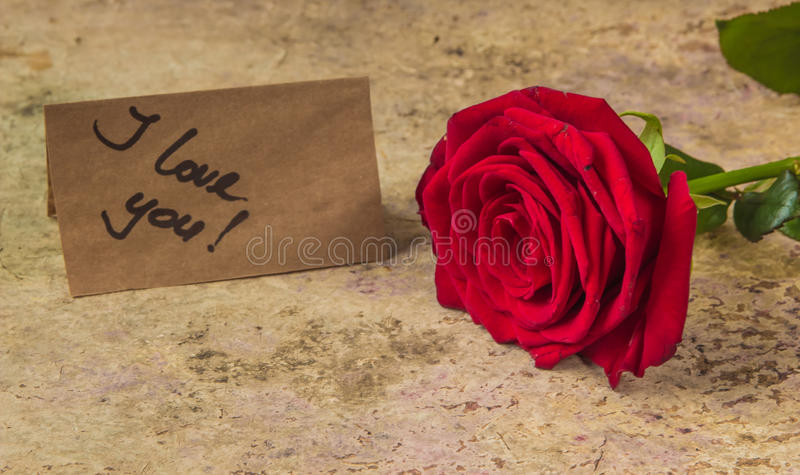 Red rose and note I love you on the craft paper.  stock photography