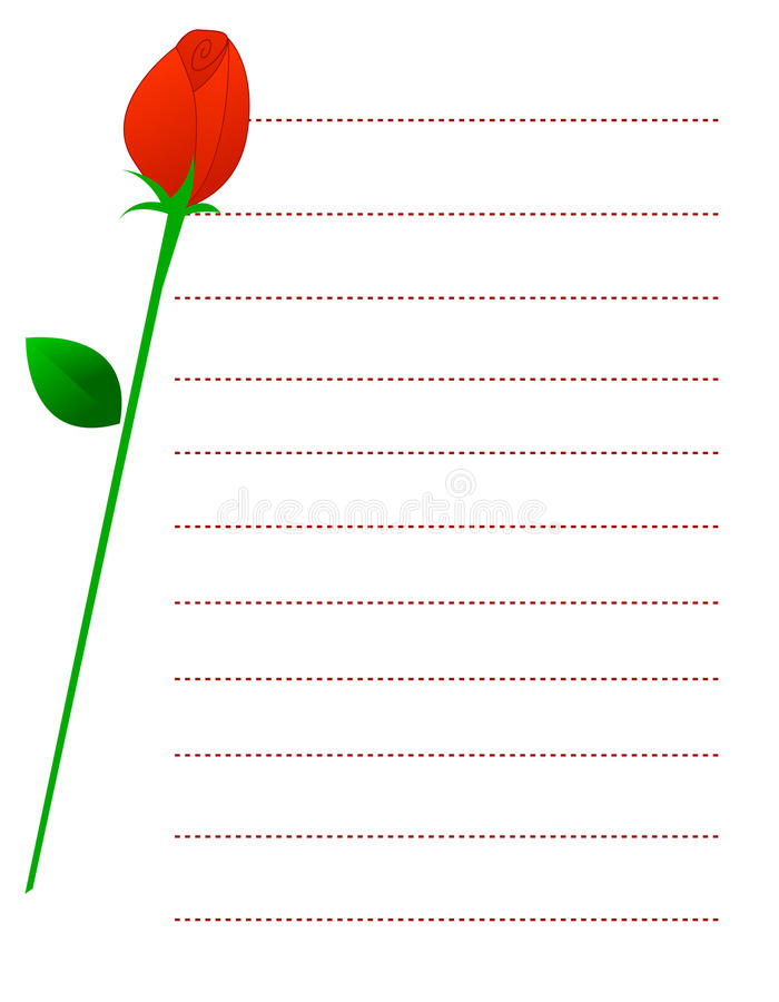 Download Red rose note paper stock vector. Image of background - 16887212