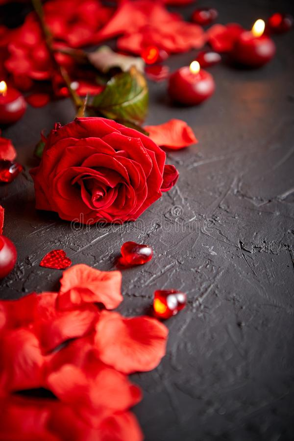 Red rose, petals, candles, dating accessories, boxed gifts, hearts, sequins royalty free stock photos