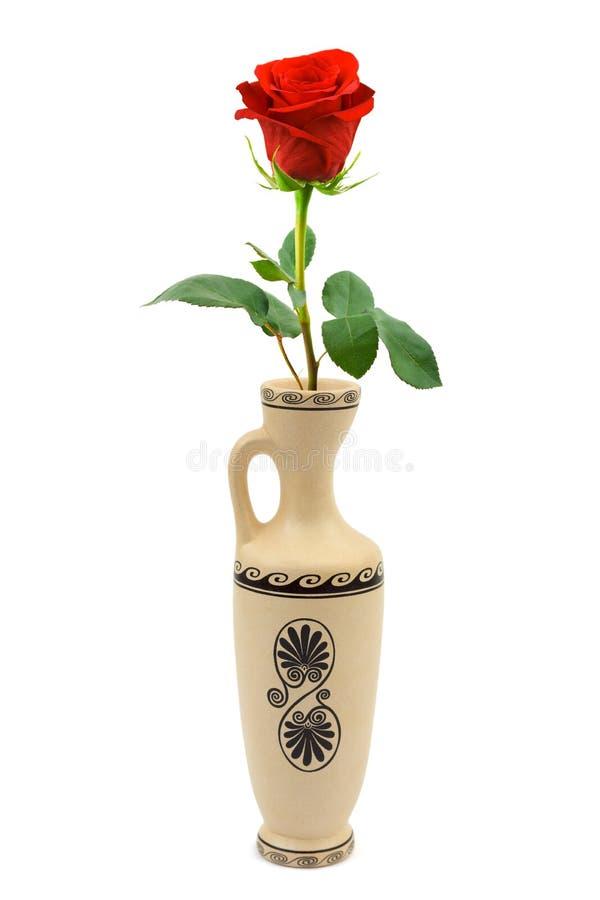 Download Red rose in retro vase stock photo. Image of birthday - 7340158