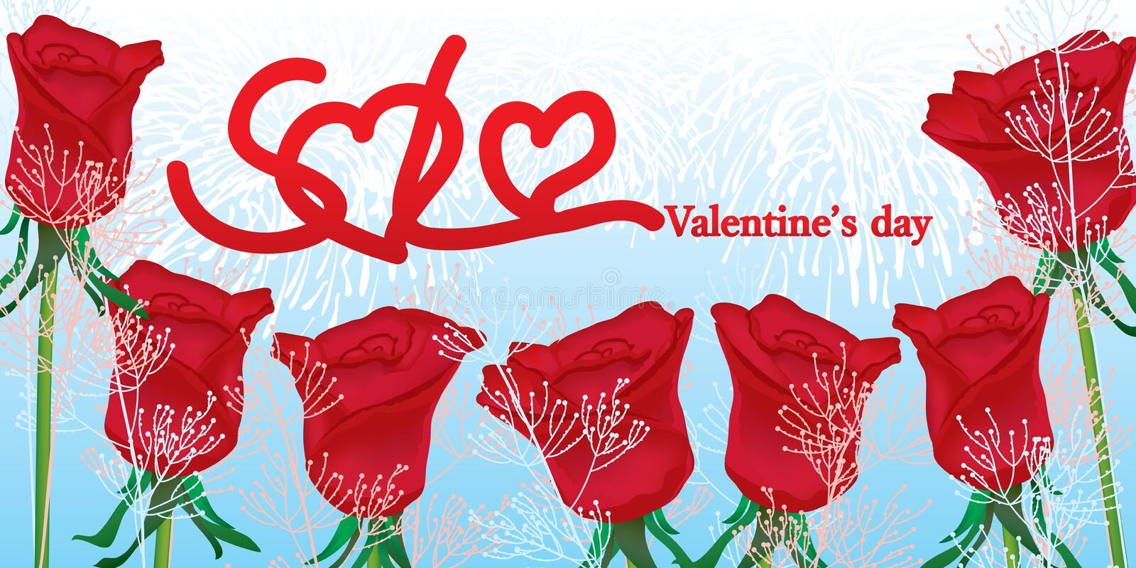 Red rose sale when valentine's day royalty free illustration