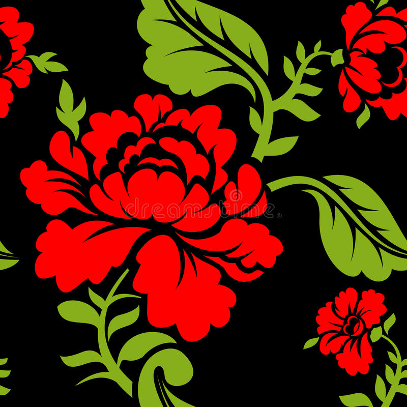 Red Rose seamless pattern. Floral texture. Russian folk ornament vector illustration