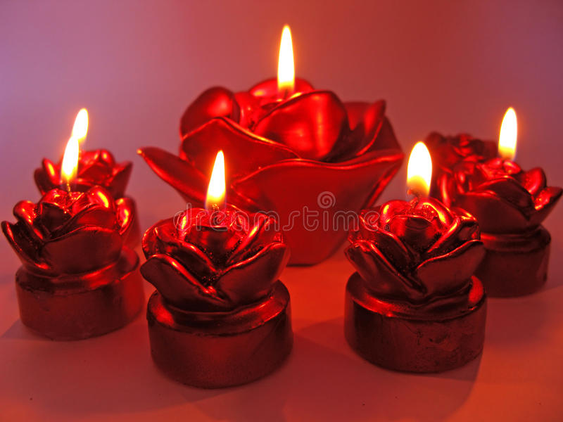Download Red Rose Spa Aroma Candles Set Stock Image - Image: 23881831