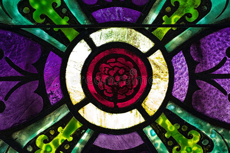 Red Rose in Stained Glass stock photography
