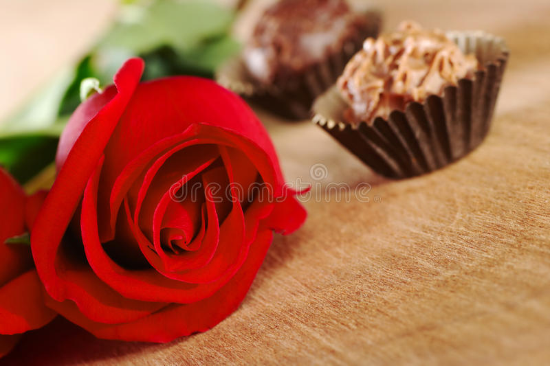Red Rose with Truffles. Red rose with two truffles on wooden board (Selective Focus, Focus on the front of the rose stock images
