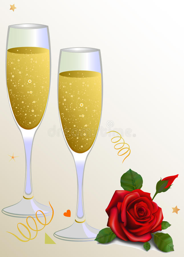 Red rose and two glass champagne . Card royalty free illustration