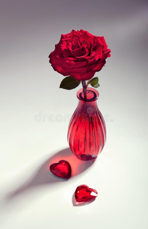 Download Red Rose With Two Hearts, Toned Image Stock Photo - Image: 38928550