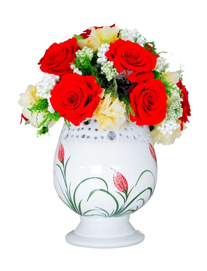 Red Rose Yellow Flower Vase Decoration Stock Image Image Of