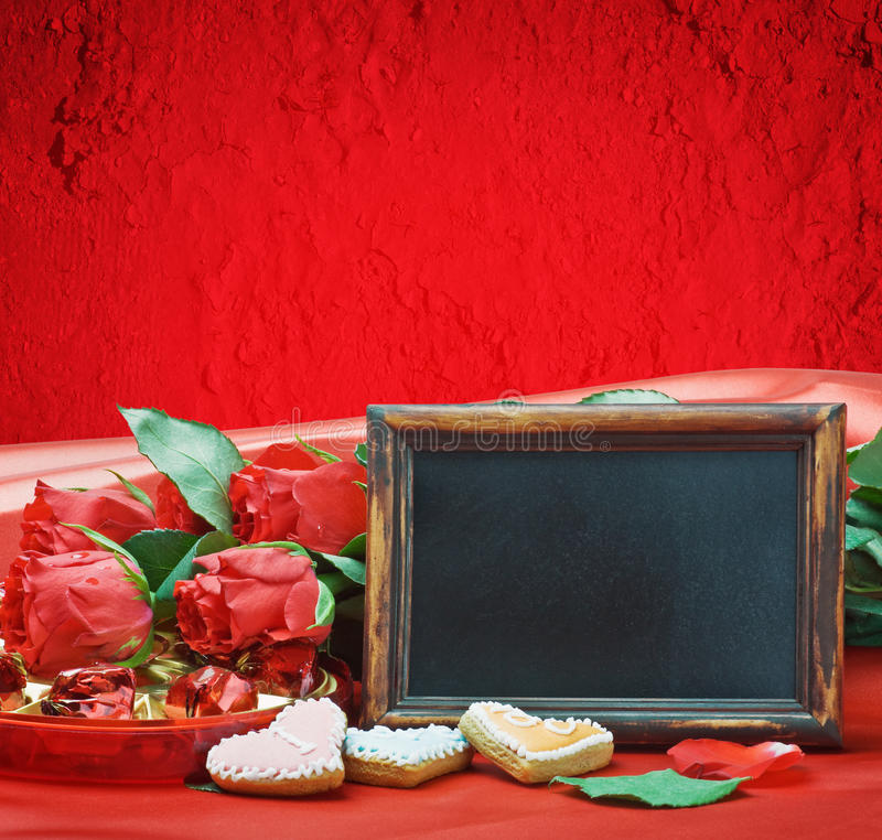 Download Red Roses And Blackboard With Space For Text Stock Photo - Image: 28293266