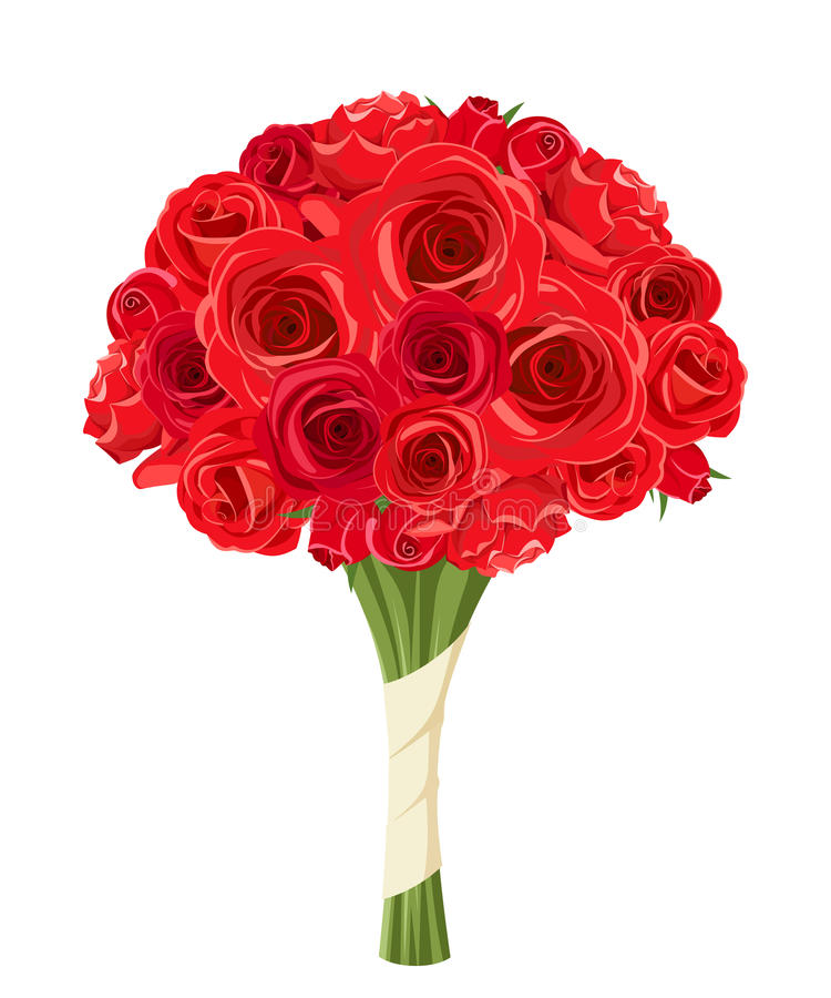 Red roses bouquet. Vector illustration. stock illustration
