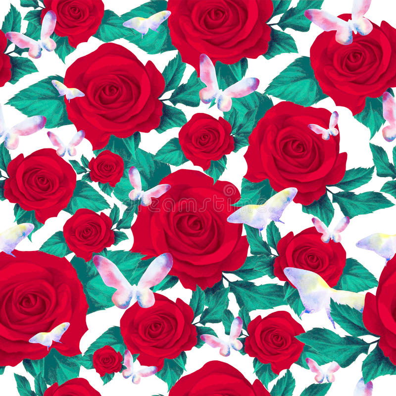 Red roses and butterfly seamless pattern vector illustration